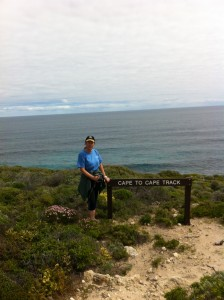 Annette on Cape walk from Cape Naturaliste to Cape Leeuwin